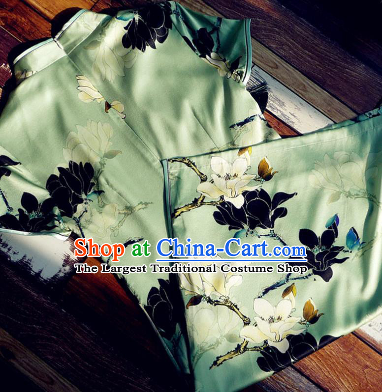 Chinese Traditional Printing Magnolia Green Silk Qipao Dress National Tang Suit Cheongsam Costumes for Women