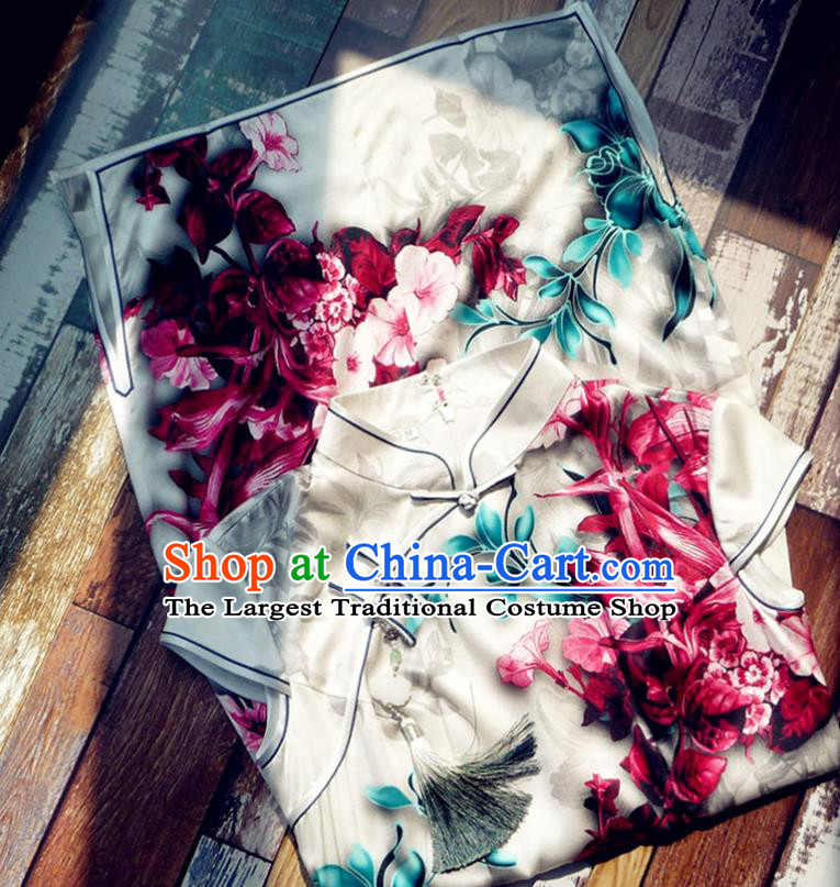 Chinese Traditional Printing Lily Flowers Silk Qipao Dress National Tang Suit Cheongsam Costumes for Women