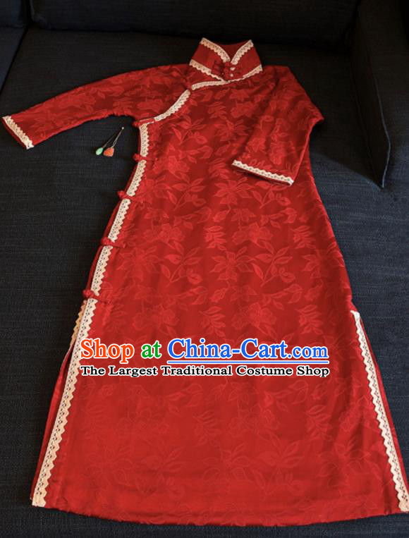 Chinese Traditional Jacquard Red Silk Qipao Dress National Tang Suit Cheongsam Costumes for Women