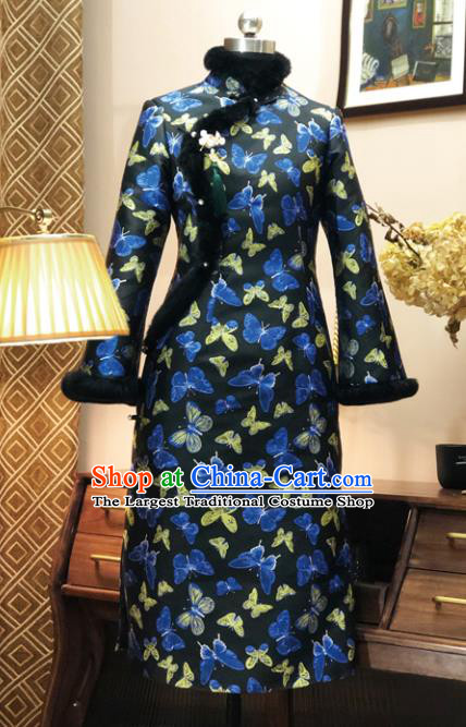 Chinese Traditional Butterfly Pattern Black Qipao Dress National Tang Suit Cheongsam Costumes for Women