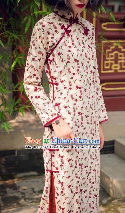 Chinese Traditional White Corduroy Qipao Dress National Tang Suit Cheongsam Costumes for Women