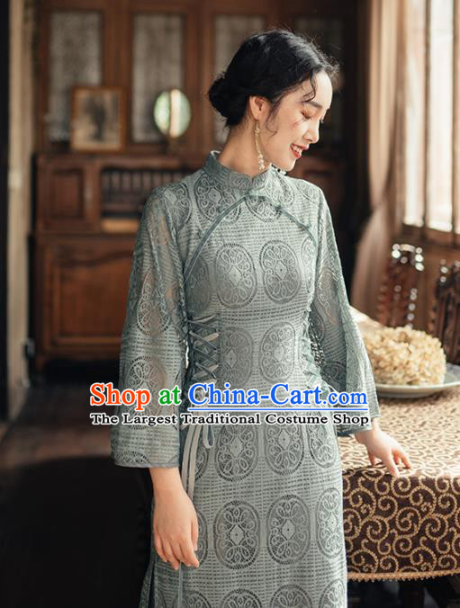 Chinese Traditional Retro Blue Lace Qipao Dress National Tang Suit Cheongsam Costumes for Women