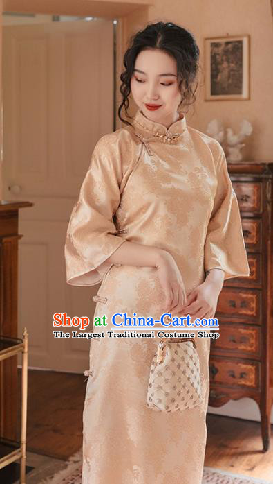 Chinese Traditional Retro Champagne Silk Qipao Dress National Tang Suit Cheongsam Costumes for Women