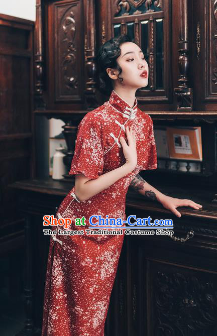 Chinese Traditional Retro Red Qipao Dress National Tang Suit Cheongsam Costumes for Women