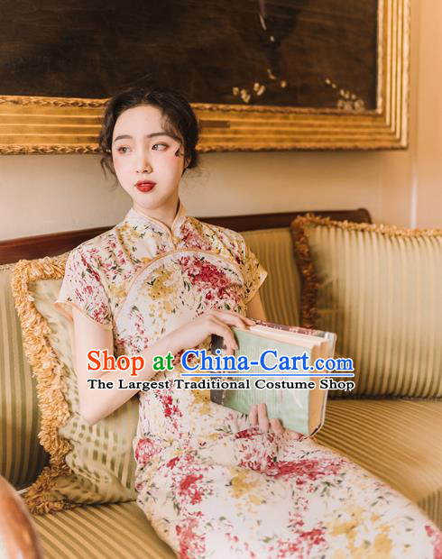 Chinese Traditional Retro Printing Qipao Dress National Tang Suit Cheongsam Costumes for Women