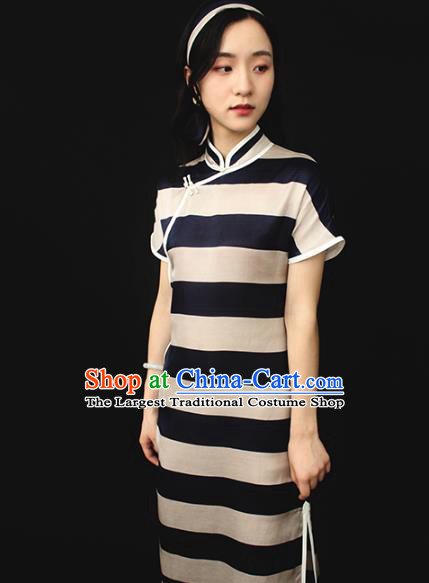 Republic of China Traditional Silk Qipao Dress Chinese National Tang Suit Cheongsam Costumes for Women