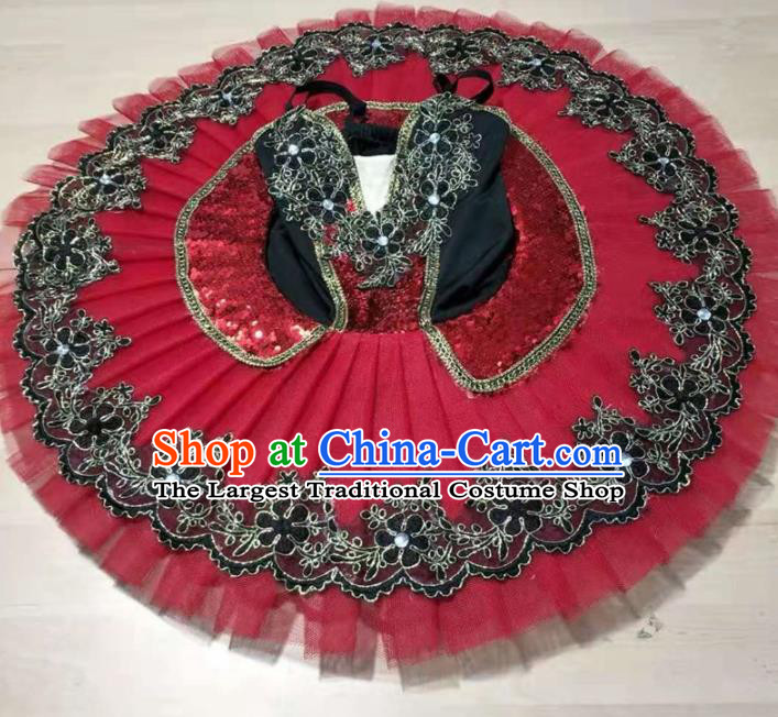Professional Ballet Dance Tutu Embroidered Red Short Dress Modern Dance Ballerina Stage Performance Costume for Kids