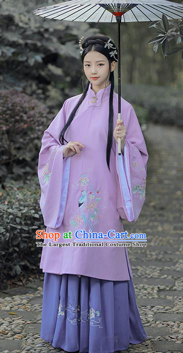 Traditional Chinese Ming Dynasty Nobility Lady Purple Hanfu Dress Ancient Royal Infanta Historical Costumes for Women