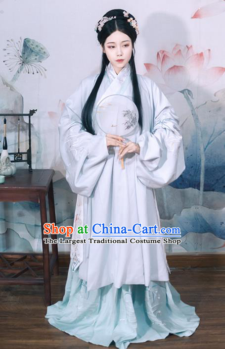 Chinese Ming Dynasty Princess Embroidered Dress Traditional Ancient Patrician Lady Historical Costume for Women