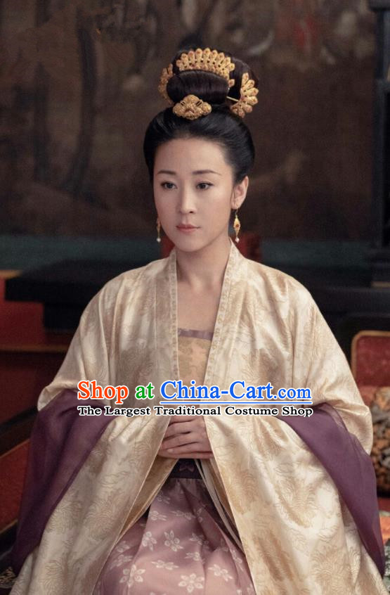 Chinese Ancient Noble Consort Zhao Drama Royal Nirvana Replica Costumes and Headpiece for Women