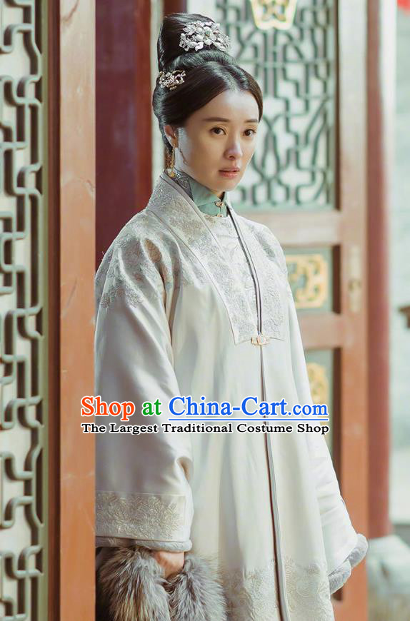 Chinese Drama Ancient Ming Dynasty Crown Princess Zhang Yan Replica Costumes and Headpiece for Women