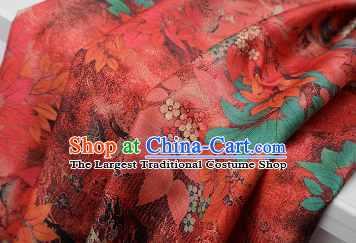 Chinese Traditional Leaf Design Pattern Red Silk Fabric Cheongsam Mulberry Silk Drapery