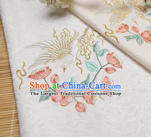 Chinese Traditional Embroidered Begonia Egret White Silk Applique Accessories Embroidery Patch