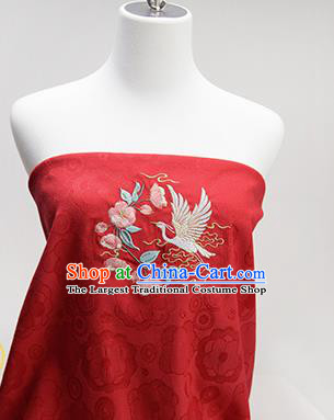 Chinese Traditional Embroidered Begonia Egret Red Silk Applique Accessories Embroidery Patch