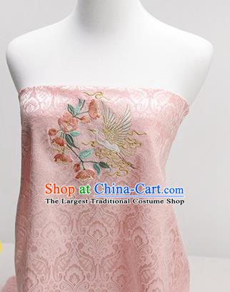 Chinese Traditional Embroidered Begonia Egret Pink Silk Applique Accessories Embroidery Patch
