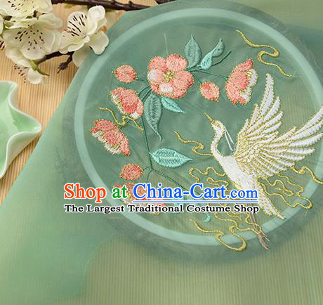 Chinese Traditional Embroidered Egret Begonia Green Chiffon Applique Accessories Embroidery Patch
