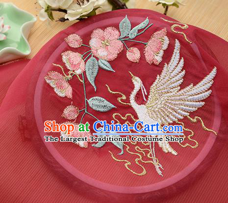 Chinese Traditional Embroidered Egret Begonia Red Chiffon Applique Accessories Embroidery Patch