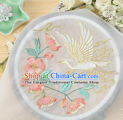 Chinese Traditional Embroidered Egret Begonia White Chiffon Applique Accessories Embroidery Patch