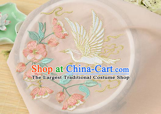 Chinese Traditional Embroidered Egret Begonia Orange Chiffon Applique Accessories Embroidery Patch