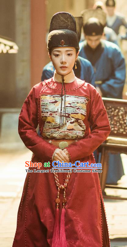 Chinese Drama Ming Dynasty Ancient Court Female Official Hu Shanxiang Replica Costumes and Headpiece Complete Set