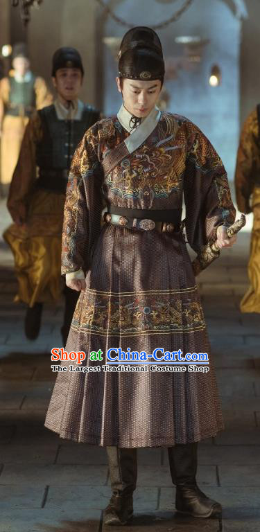 Chinese Ancient Drama Ming Dynasty JinYiwei Guard Replica Costumes and Headpiece Complete Set