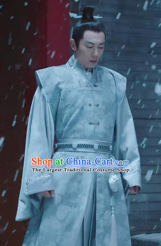 Chinese Drama Ancient Ming Dynasty Crown Prince Zhu Zhanji Replica Costumes and Headpiece Complete Set
