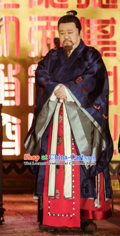 Chinese Ancient Ming Dynasty Crown Prince Drama Zhu Gaochi Replica Costumes and Headpiece Complete Set