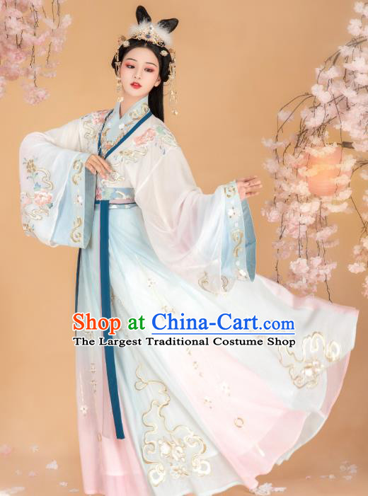 Chinese Traditional Jin Dynasty Imperial Consort Dress Ancient Goddess Historical Costumes for Women