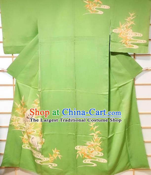 Japanese Classical Printing Egret Green Tsukesage Kimono Japan Traditional Yukata Dress Costume for Women
