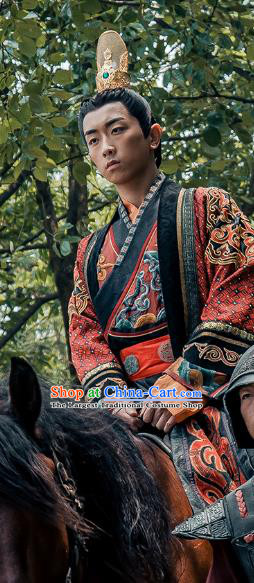 Chinese Ancient Emperor Historical Drama Love is More Than A Word Costume and Headpiece for Men