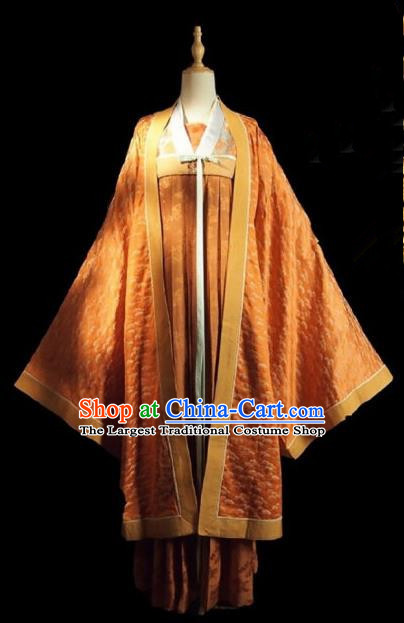 Chinese Ancient Court Lady Costume Historical Drama Royal Nirvana Song Dynasty Orange Hanfu Dress for Women