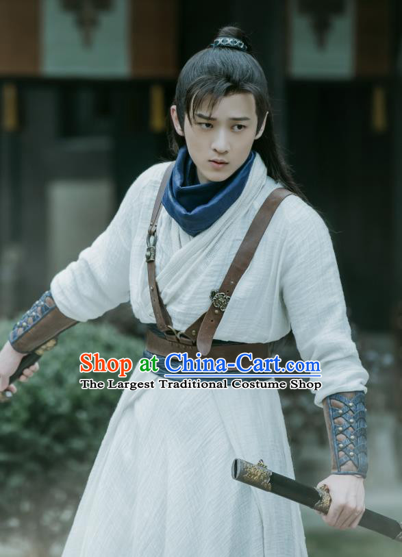Chinese Ancient Swordsman Clothing Historical Drama The Love Lasts Two Minds Costume and Headpiece for Men