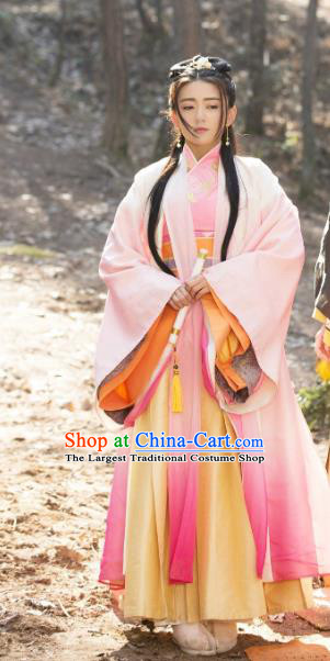 Chinese Historical Drama The Eternal Love Ancient Rani Qu Tan Er Costume and Headpiece for Women