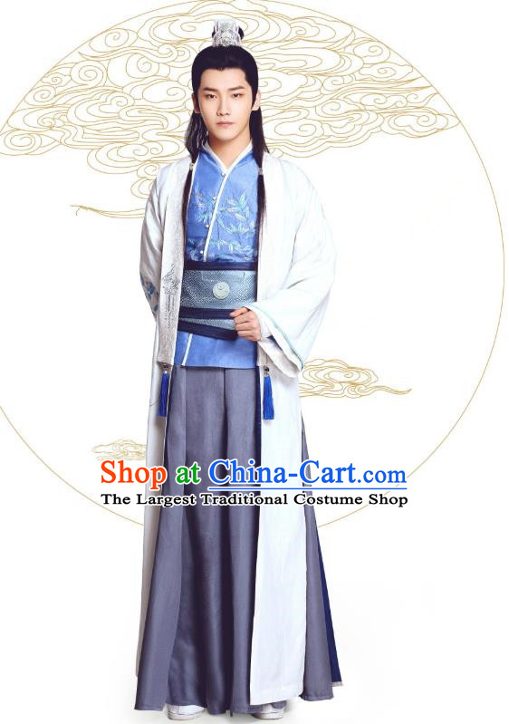 Chinese Ancient Prince Mo Liancheng Clothing Historical Drama The Eternal Love Costume and Headwear for Men
