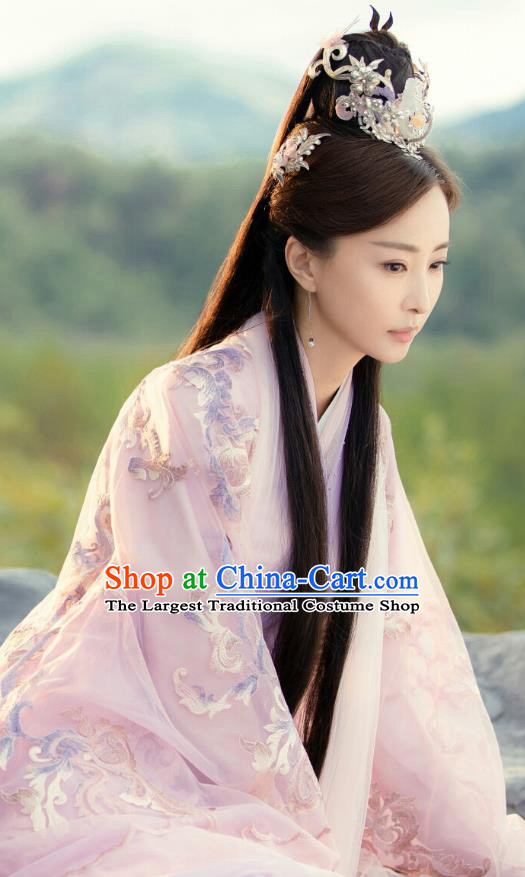 Chinese Historical Drama Love Better Than Immortality Ancient Princess Leng Ning Costume and Headpiece for Women