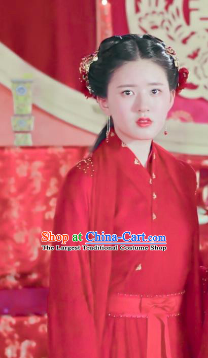 Chinese Drama Love Better Than Immortality Ancient Young Lady Wedding Historical Costume and Headpiece for Women