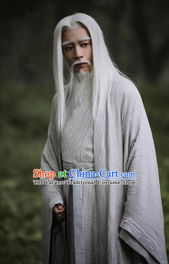 Drama Listening Snow Tower Chinese Ancient Immortal Bai Di Historical Costume and Headwear for Men