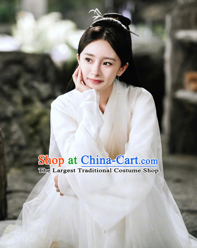 Historical Drama Sansheng Sanshi Pillow Eternal Love Chinese Ancient Goddess Bai Qian Costume and Headpiece Complete Set