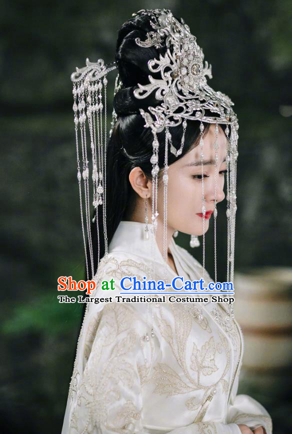 Chinese Ancient Goddess Drama Sansheng Sanshi Pillow Eternal Love Bai Qian Wedding Costume and Headpiece Complete Set