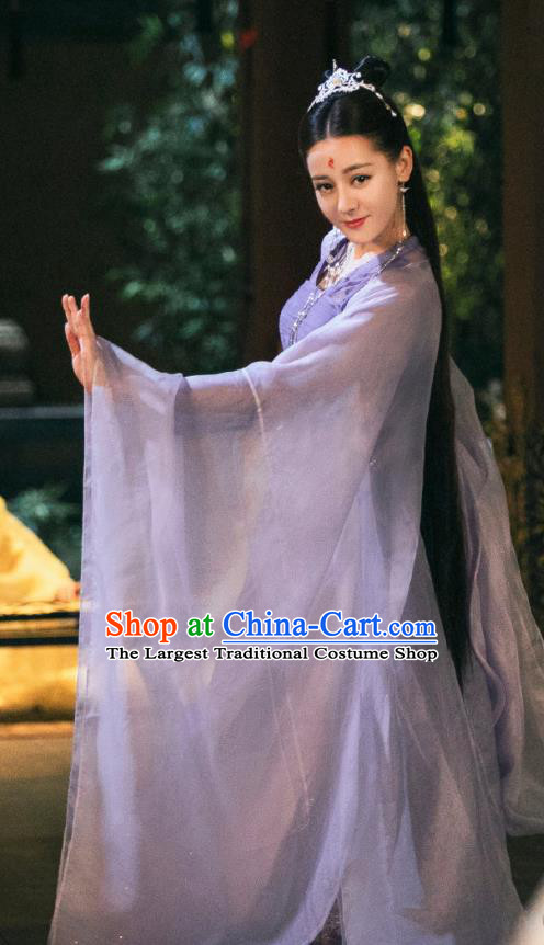 Chinese Ancient Imperial Consort Drama Sansheng Sanshi Pillow Eternal Love Bai Fengjiu Costume and Headpiece Complete Set