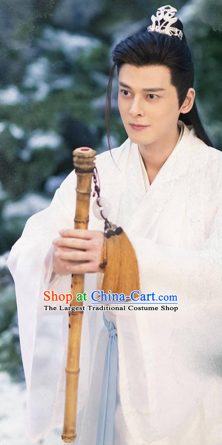 Chinese Ancient Dragon Prince Drama Sansheng Sanshi Pillow Eternal Love of Dream Su Moye Costume and Headpiece Complete Set