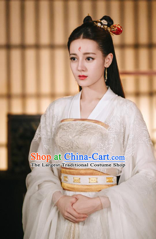Chinese Ancient Fox Clan Princess Bai Fengjiu Drama Sansheng Sanshi Pillow Eternal Love of Dream Costume and Headpiece Complete Set