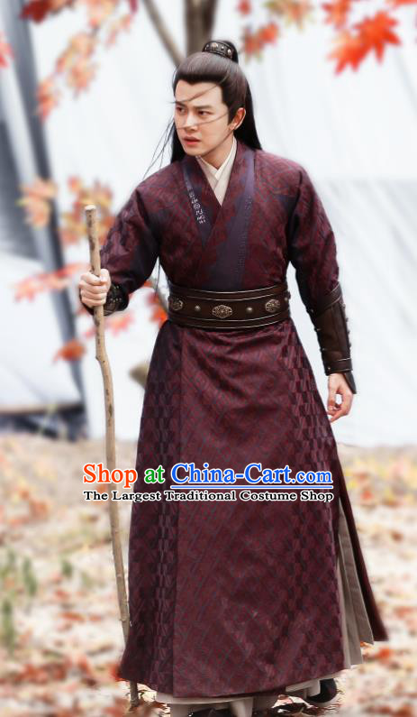 Drama Under the Power Chinese Ancient Ming Dynasty Blade Lu Yi Costume and Headpiece Complete Set