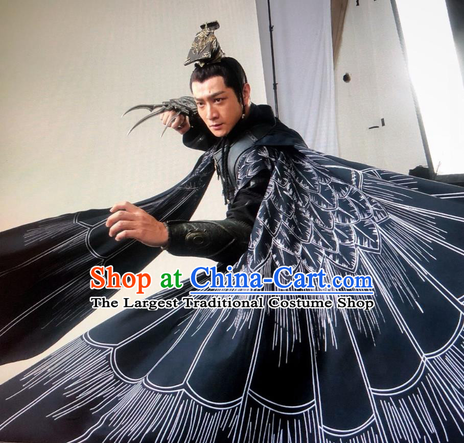 Drama Sword Dynasty Chinese Ancient General Chen Xuan Costume and Headpiece Complete Set