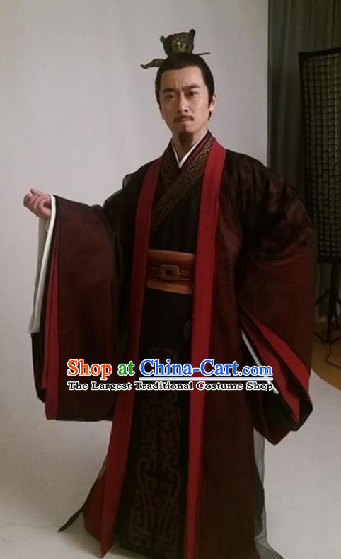Drama Sword Dynasty Chinese Ancient Prime Minister Costume and Headpiece Complete Set