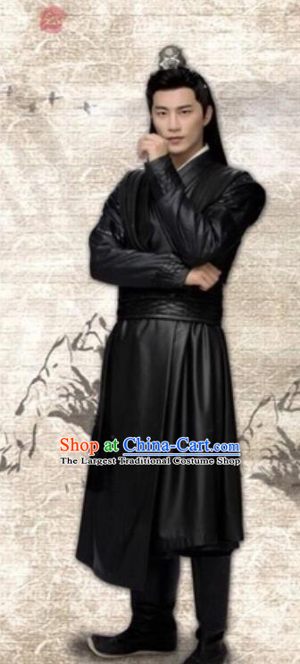 Drama Cinderella Chef Chinese Ancient Swordsman Xia Chunyu Black Costume and Headpiece Complete Set