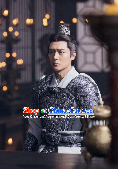 Drama Hero Dream Chinese Ancient Han Dynasty General Liu Bang Armor Costume and Headpiece Complete Set