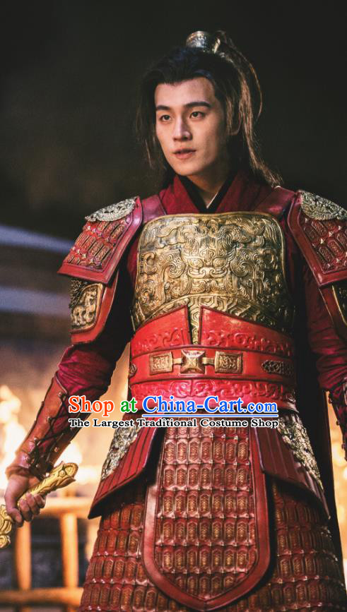 Drama Hero Dream Chinese Ancient Han Dynasty General Han Xin Armor Costume and Headpiece Complete Set