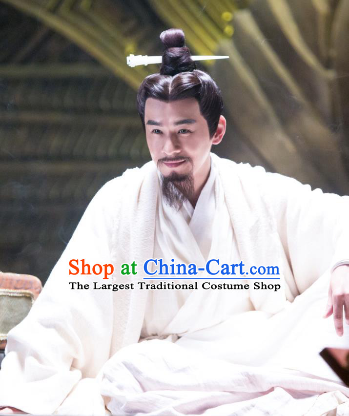 Drama Hero Dream Chinese Ancient Qin Dynasty Emperor Ying Zheng Costume and Headpiece Complete Set