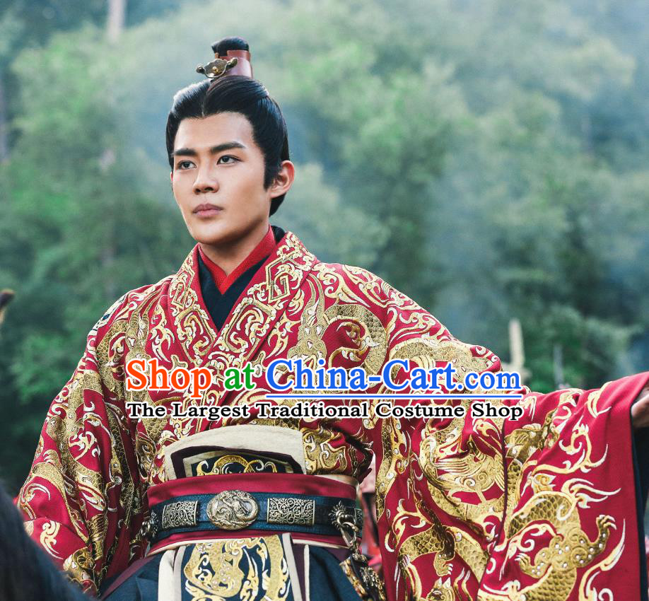 Drama Hero Dream Chinese Ancient King of Chu Xiang Yu Costume and Headpiece Complete Set